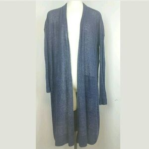 Vince XS Linen Blend Blue Duster Long Sleeve